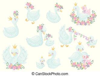Set of image swans. Vector illustration on white background.