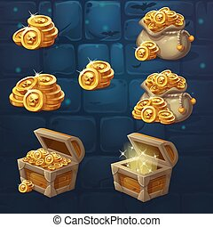 Set of images of a handful of coins - Set of wooden chests...