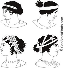 Set of images of ancient Greek women heads