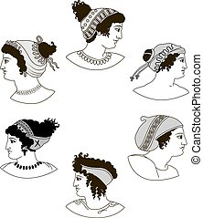 Set of images of ancient Greek women heads.