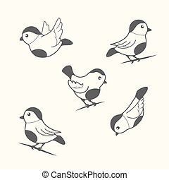 birds in vintage style