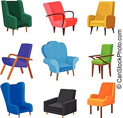 Set of images of chairs. Vector illustration on white background.