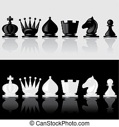 chessmen -  set of images of chessmen with reflection