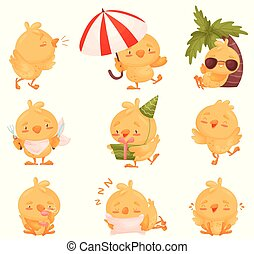 Set of images of chickens. Vector illustration on white background.