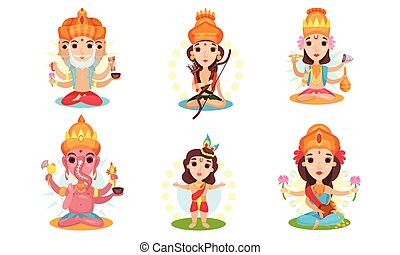 Set of images of different indian gods. Vector illustration on a white background.