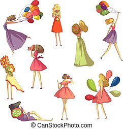 Set of images of girls with different bouquets. Vector illustration on white background.