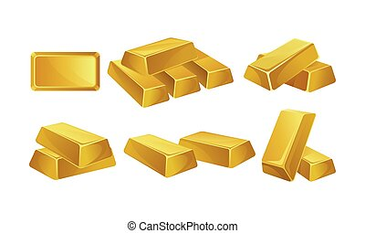 Set of images of gold bars. Vector illustration.