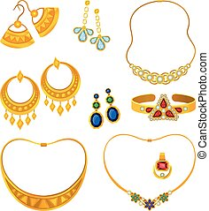 Set of images of gold jewelry with precious stones. Vector illustration.