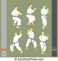 Set of images of karate