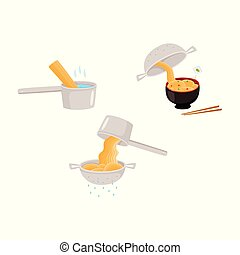 Set of images of manual guide of preparation instant noodle.