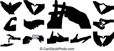 Set of images of pairs of hands, boys and girls.