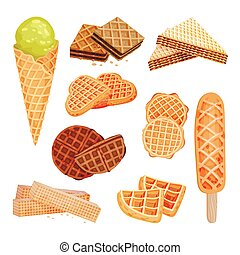 Set of images of sweets from waffles. Ice cream, biscuits, straw. Vector illustration on white background.