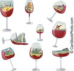 Set of images of wine glasses with a landscape inside. Vector illustration on white background.