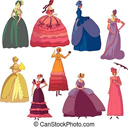 Set of images of women in old-fashioned dresses. Vector...