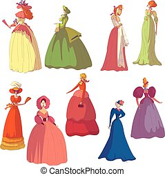 Set of images of women in vintage dresses. Vector...
