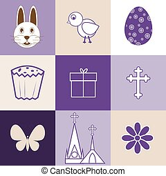 Set of images on the theme of Easter