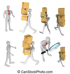 set of images with 3d man delivering a a parcel to another...