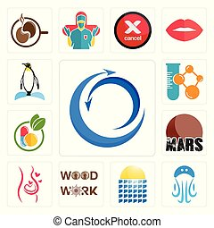 Set of import export, jellyfish, solar panel, woodwork, pregnancy, mars, homeopathy, chemical company, penguin icons