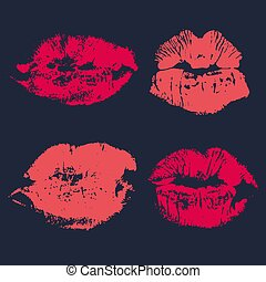 Set of imprint kiss pink lips isolated on background