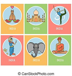 Set of India cartoon card or icons