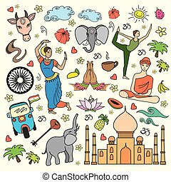 Set of India cartoon icons