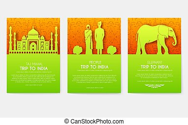 Set of India country ornament travel tour concept. Culture...