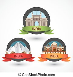 Set of India famous monuments. Lotus Temple Humayun's Tomb and the Gateway of India. Modern Flat Vector illustration