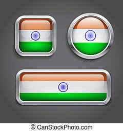India flag glass buttons