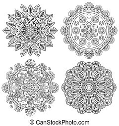 Set of Indian boho floral mandalas