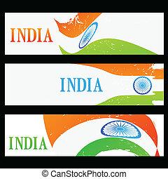set of indian flag headers