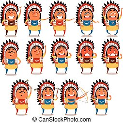 Set of indian flat icons - Vector image of the Set of indian...