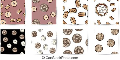 Set of indigenous rustic seamless border patterns. Doodle style comic runes, pentacles, candles, pentagrams hand drawn background tiles collection
