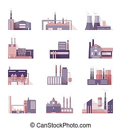 Set of industrial factory and plant buildings. Collection manufacturers with smoking chimneys. Vector colorful illustration in flat style.