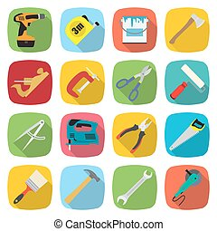 Set of industrial tools and equipment colored icons with oblique