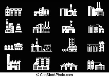 Set of industry manufactory building icons. Plant and factory, power and smoke, oil and energy, nuclear manufacturing station.
