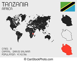 Set of Infographic Elements for the Country of Tanzania - A...