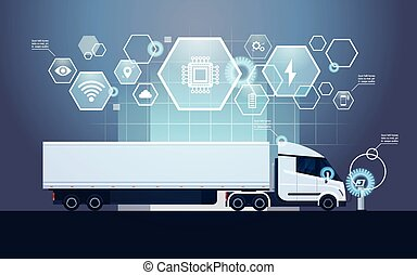 Set Of Infographic Elements With Modern Semi Truck Trailer...