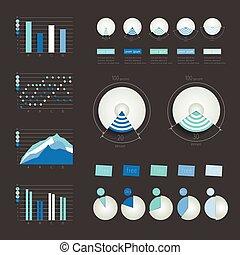 Set of infographics elements charts, graphs, circle charts, diagrams, speech bubbles. 3D design. Vector.