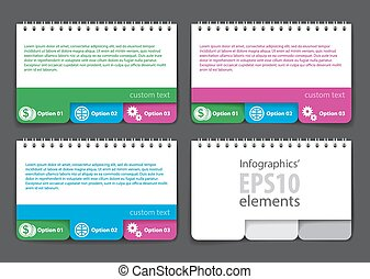 Set of infographics elements in the form of a jotter with tabs. For various purposes. Vector illustration