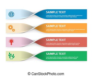 Set of infographics elements in the form of paper tapes for a variety of purpose