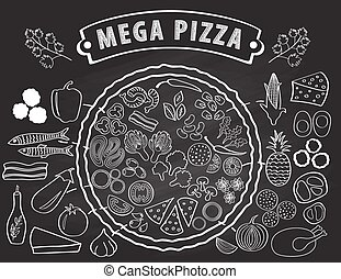 Set of ingredients for pizza.