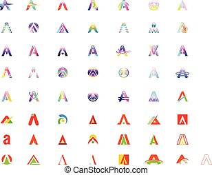 Set of Initial letter A logo vector design template