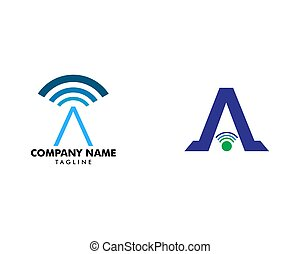 Set of Initial Letter A Signal Logo Design Template Element