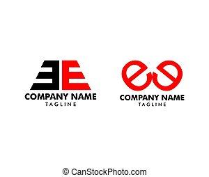 Set of Initial Letter EE Logo Template Design