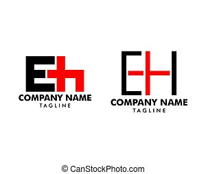 Set of Initial Letter EH Logo Template Design