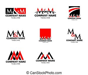 Set of Initial Letter MM Logo Template Design