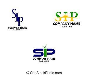 Set of Initial Letter SIP Logo Template Design