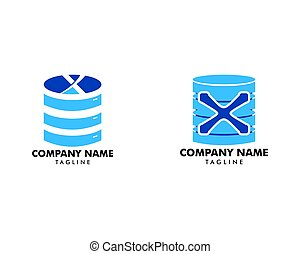 Set of Initial logo icon for web hosting business with the initials letter X