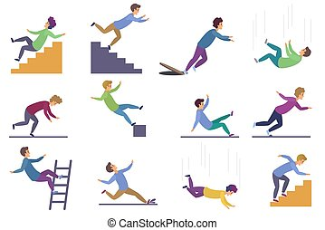 Set of injuring people falling down the stairs and over the edge, ladder, drop from the altitude, wet floor falling, stumbling on the sewer hall, tripping on stairs isolated on white background