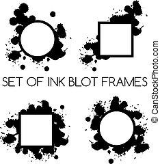 set of ink blot frames on white background